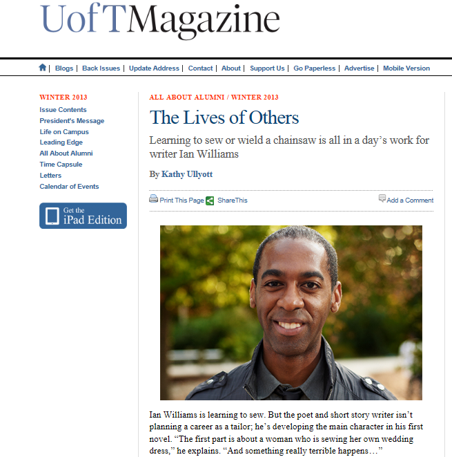 U of T Magazine Ian Williams